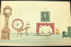 Stamp Art - Cozy Room, with spinning wheel, fireplace, picture,, chair, grandfather clock and yellow cat.