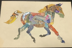 Stamp Art - beautiful horse galloping on postcard.