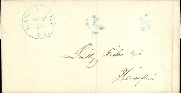 1847 Stampless Blue 5 and R