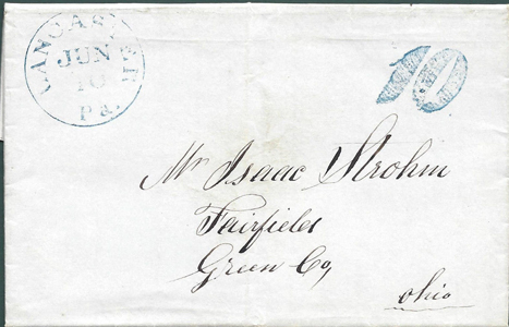 1847 Stampless blue 10 to Fairfield O