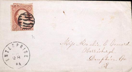 1860 Enterptise PA Fancy 3 Cent