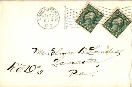 1915 Flag Cancel RFD to Landis