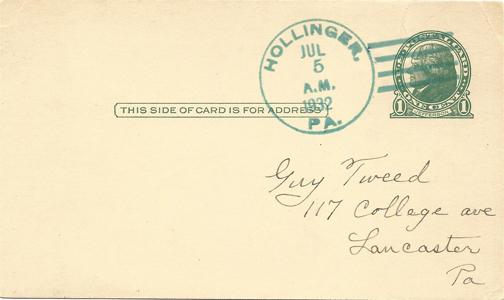 1933-07 Postcard Hollinger PA-F