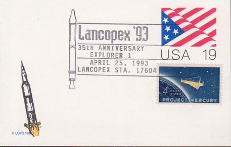 1993 LANCOPEX cachet Explorer 1 25-APR PC