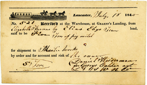 1845 Woodcut Barge Receipt