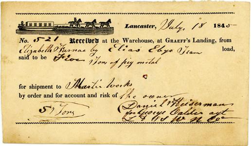 1845 Woodcut Barge Receipt