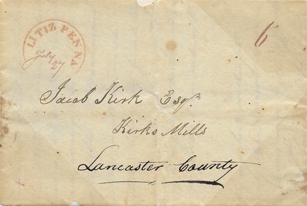 1824 Stampless Litiz PA FLS