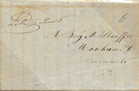 1845 Stampless Litiz PA FLS ms