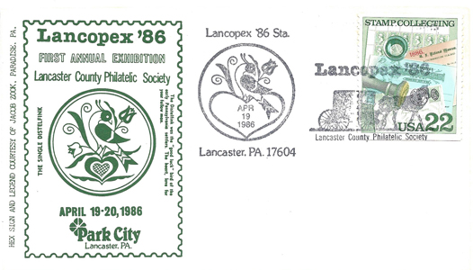 1986 LANCOPEX cachet Distlefink 19-APR-1