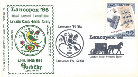1986 LANCOPEX cachet Distlefink 19-APR-2