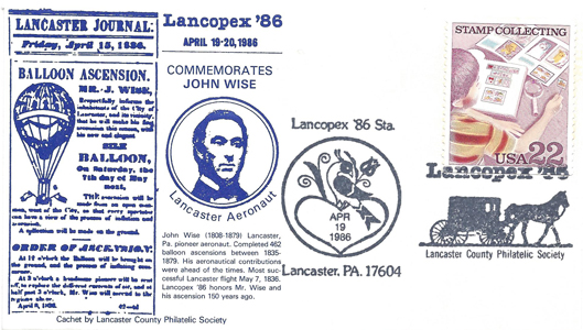 1986 LANCOPEX cachet Wise 19-APR-3