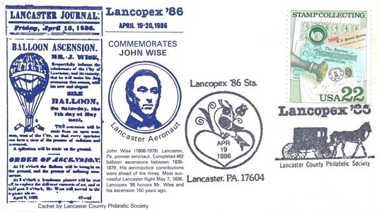1986 LANCOPEX cachet Wise 19-APR-4