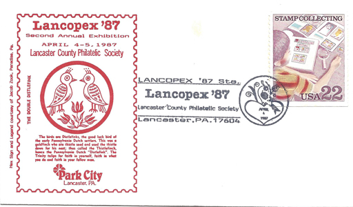 1987 LANCOPEX cachet Distlefink 4-APR-1