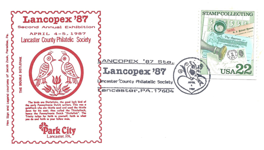 1987 LANCOPEX cachet Distlefink 4-APR-2