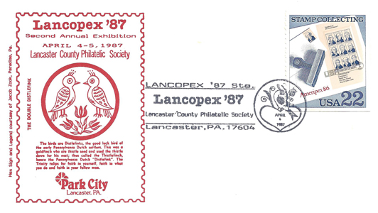 1987 LANCOPEX cachet Distlefink 4-APR-3