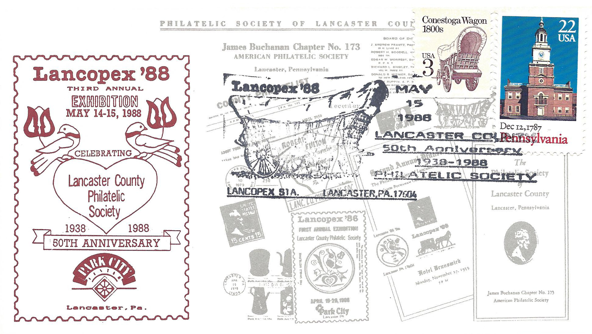 1988 LANCOPEX cachet 50th 15-MAY-2