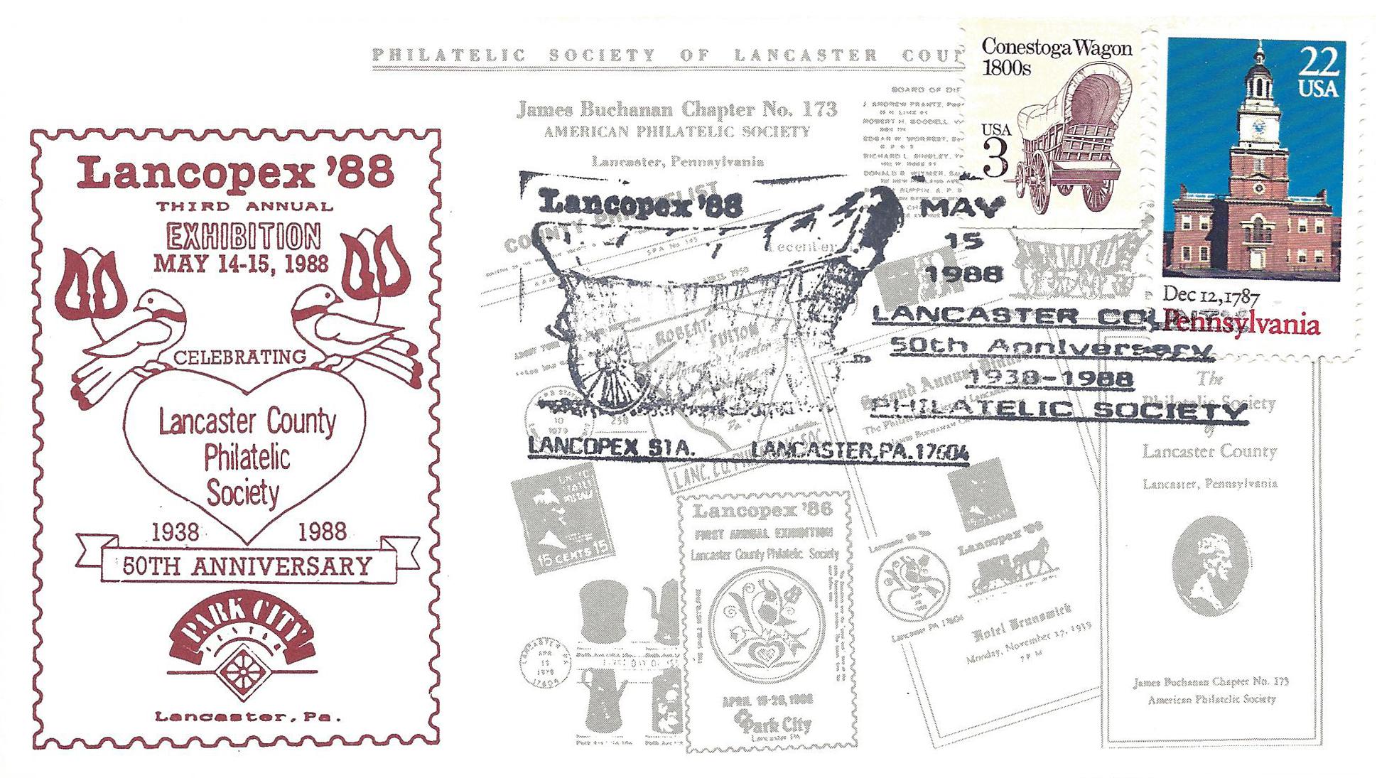 1988 LANCOPEX cachet 50th 15-MAY-2