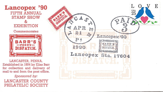 1990 LANCOPEX cachet Barrs 21-APR-1