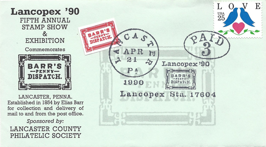 1990 LANCOPEX cachet Barrs 21-APR-2