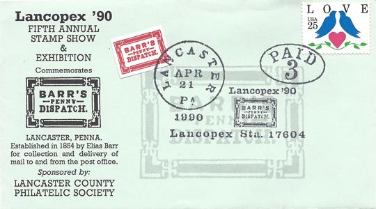 1990 LANCOPEX cachet Barrs 21-APR-2