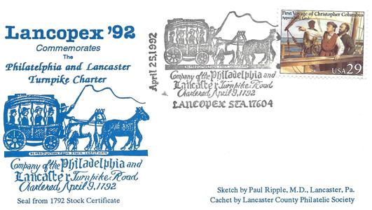 1992 LANCOPEX cachet Turnpike 25-APR-2
