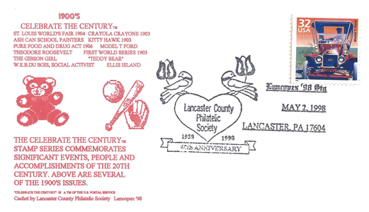 1998 LANCOPEX cachet 1900s 2-MAY