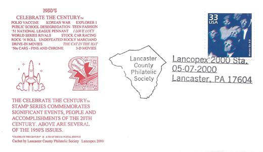 2000 LANCOPEX cachet 1950s 7-MAY