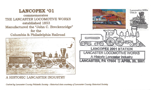 2001 LANCOPEX cachet Locomotive 28-APR