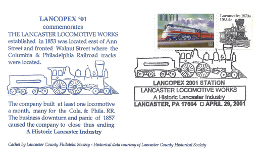 2001 LANCOPEX cachet Locomotive 29-APR