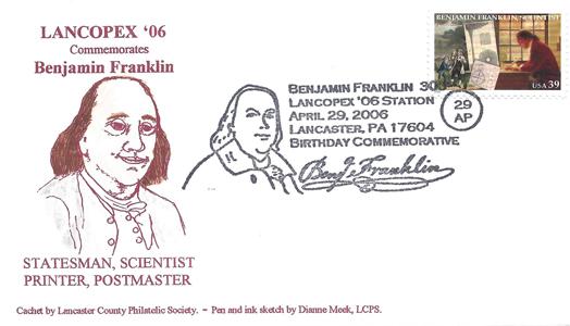 2006 LANCOPEX cachet Franklin 29-APR