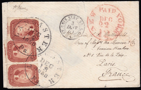 1858 #27×3 to France