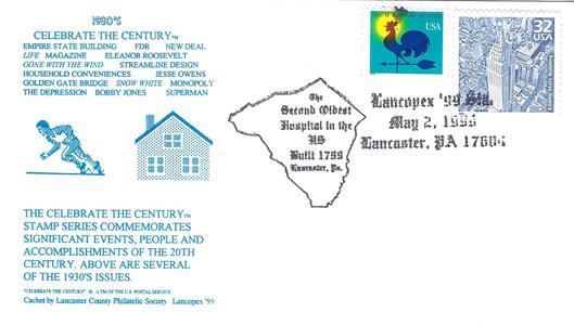1999 LANCOPEX cachet 1930s 2-MAY