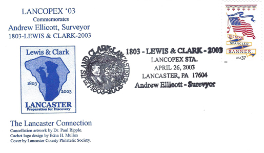 2003 LANCOPEX cachet LewisClark 26-APR-2
