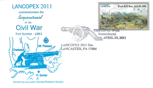 2011 LANCOPEX cachet Civil War 29-APR