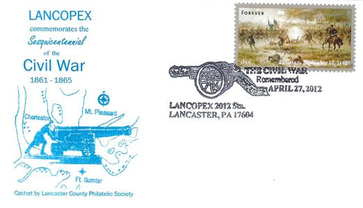 2012 LANCOPEX cachet Civil War 27-APR