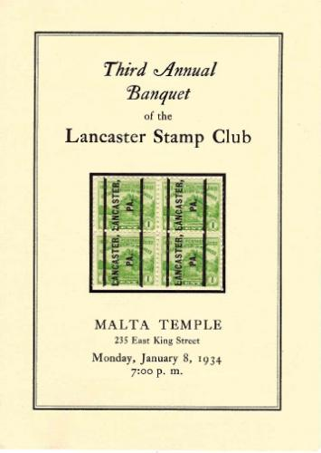1934 Lancaster Stamp Club Third Annual Banquet