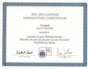 2010 APS Vermeil Award