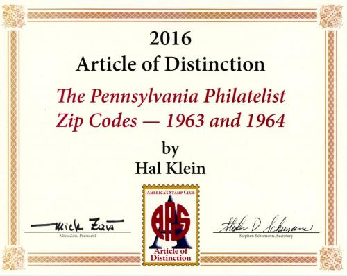 "2016 Recipient, Hal Klein for ""The Pennsylvania Philatelist Zip Codes, 1963 & 1964"""