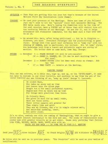 Earliest Overprint Found Reverse Nov 1957 Vol 1 - 9