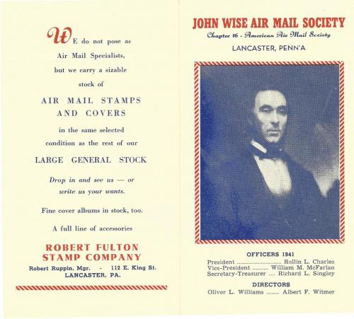 John Wise Air Mail Society 1941 Brochure p.1