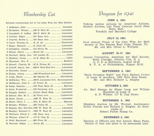 John Wise Air Mail Society 1941 Brochure p.2
