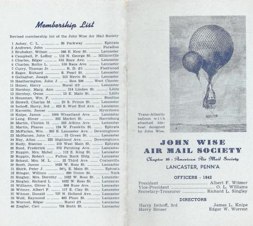 John Wise Air Mail Society 1942 Brochure p.1