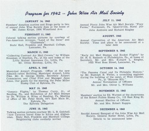 John Wise Air Mail Society 1942 Brochure p.2