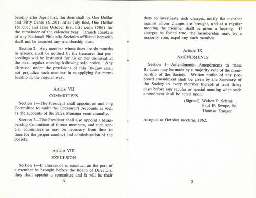 PSLC Revised By-Laws 1962 pp. 6-7